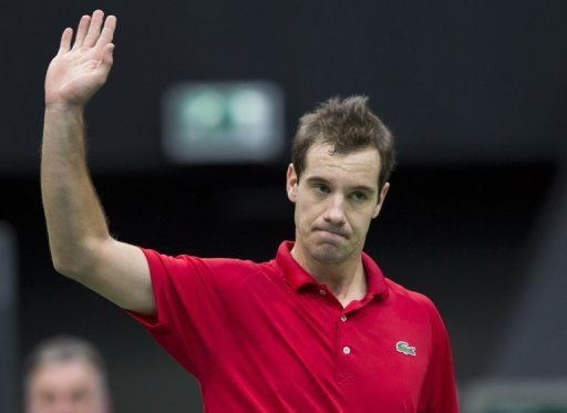 Richard Gasquet reacts after winning his match in Rotterdam on February 13, 2013