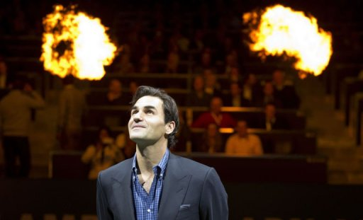 Roger Federer takes part in the opening ceremony of the ABN AMRO tennis Tournament in Rotterdam, on February 11, 2013