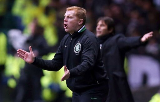 Celtic's coach Neil Lennon shouts during their UEFA Champions League football match in Glasgow, February 12, 2013