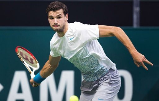 Grigor Dimitrov of Bulgaria returns the ball to Marcos Baghdatis from Cyprus in Rotterdam on February 15, 2013