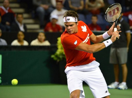 Canada's Milos Raonic is pictured on February 3, 2013 during a Davis Cup match in Vancouver
