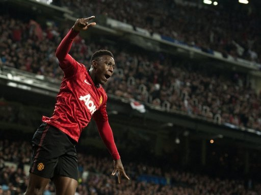 Danny Welbeck celebrates scoring during the Champions League game at Real Madrid on February 13, 2013