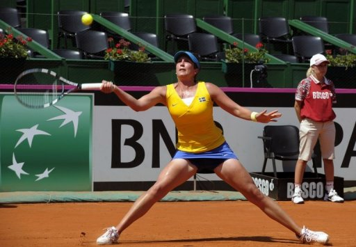 Sweden's Sofia Arvidsson is pictured on February 10, 2013 during a Fed Cup match in Buenos Aires