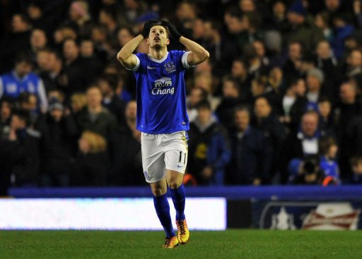 Everton's striker Kevin Mirallas celebrates scoring at Goodison Park in Liverpool, February 26, 2013