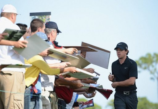 Rory McIlroy signs autographs during the pro am of the Honda Classic at PGA National on February 27, 2013