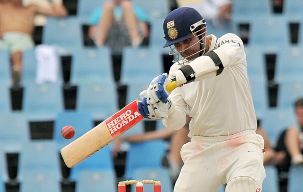 Indian Virender Sehwag plays a shot bowl