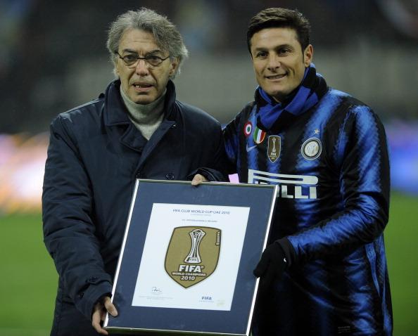 Club owner Massimo Moratti with Inter captain, Zanetti