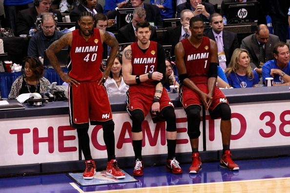 (L-R) Udonis Haslem #40, Mike Miller #13 and Chris Bosh #1; The Miami Heat big men aren't the best at grabbing boards. (Getty Images)