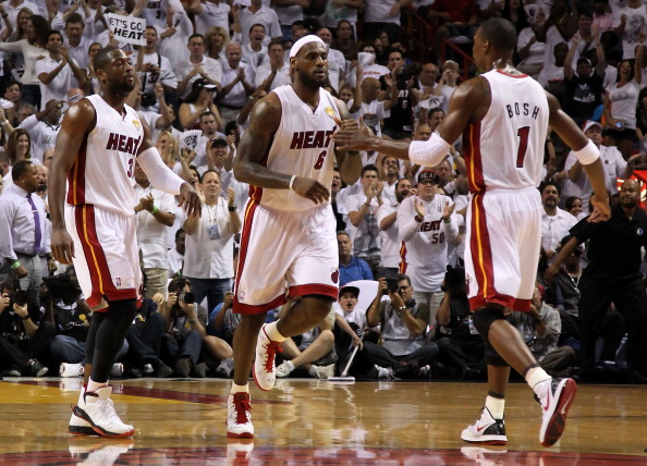 The Miami Big Three of (L-R) Dwyane Wade #3, LeBron James #6 and Chris Bosh #1. (Getty Images).