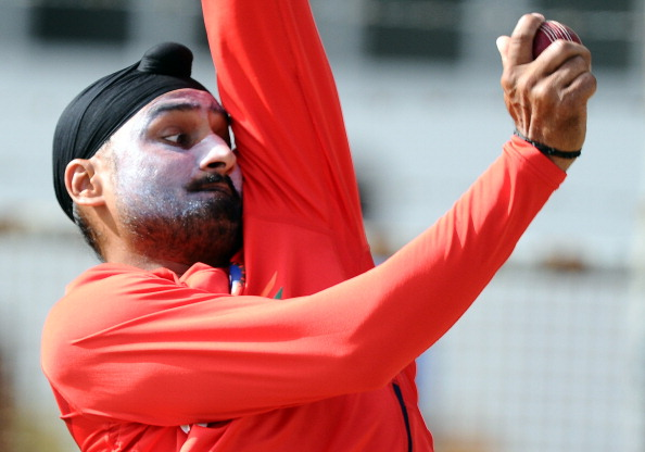 Indian cricketer Harbhajan Singh deliver