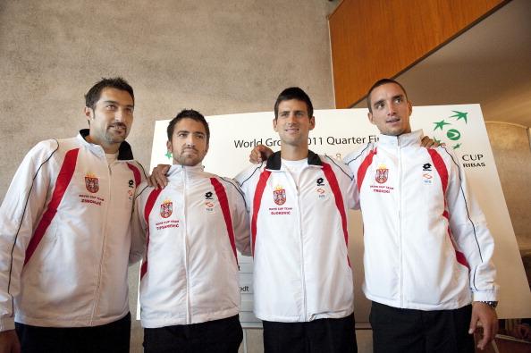 Serbia's Davis Cup team, (L-R) Nenad Zim