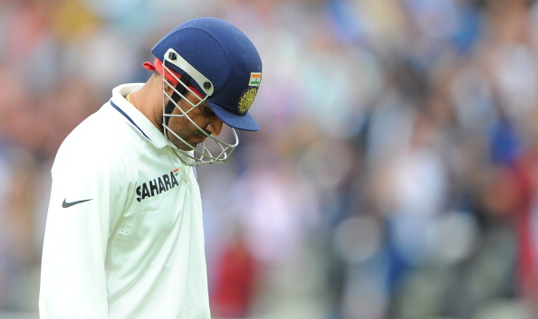India's Virender Sehwag leaves the pitch
