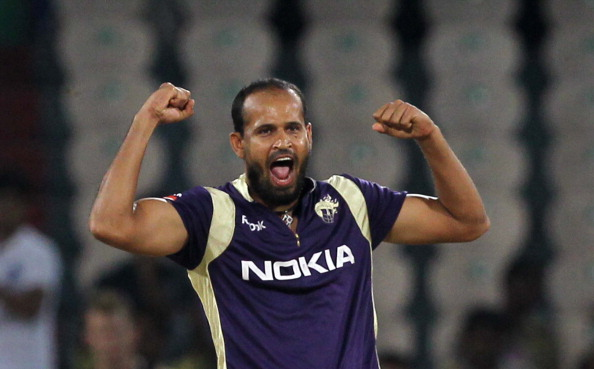 Kolkata Knight Riders bowler Yusuf Pathan celebrates the wicket of South Australian Redbacks batsman Callum Ferguson during the Champions League Twenty20 Group B match between Kolkata Knight Riders and South Australian Redbacks at Rajiv Gandhi International Cricket Stadium on September 27, 2011 in Hyderabad, India.  (Photo by Santosh Harhare/Hindustan Times via Getty Images)