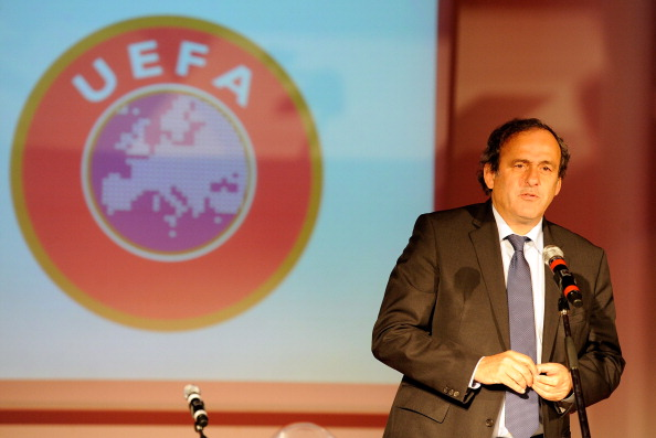 UEFA president Michel Platini speaks during the UEFA President's Award at Giuseppe Meazza Stadium on March 12, 2012 in Milan, Italy.