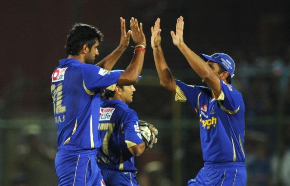 Rajasthan Royals bowler Pankaj Singh (L)