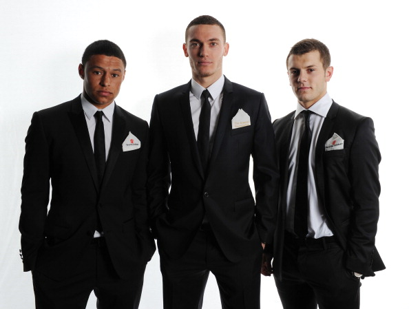 LONDON, ENGLAND - MAY 09:  (ONE TIME FREE USAGE) In this handout photo provided by Arsenal FC, L-R Alex Oxlade-Chamberlain, Thomas Vermaelen and Jack Wilshere before the Arsenal Charity Ball