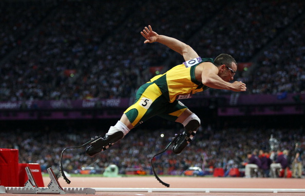 Oscar Pistorius of South Africa competes in the Men's 400m Semi Final on Day 9 of the London 2012 Olympic Games at the Olympic Stadium on August 5, 2012 in London, England.  (Photo by Michael Steele/Getty Images)