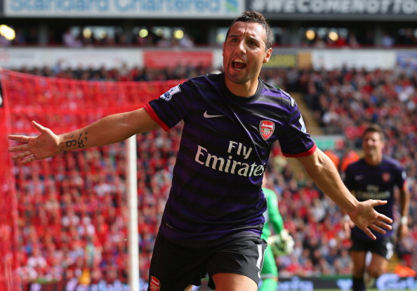 Santi Cazorla of Arsenal celebrates after scoring the second goal during the Barclays Premier League match between Liverpool and  Arsenal at Anfield on September 2, 2012 in Liverpool, England.  (Photo by Alex Livesey/Getty Images)