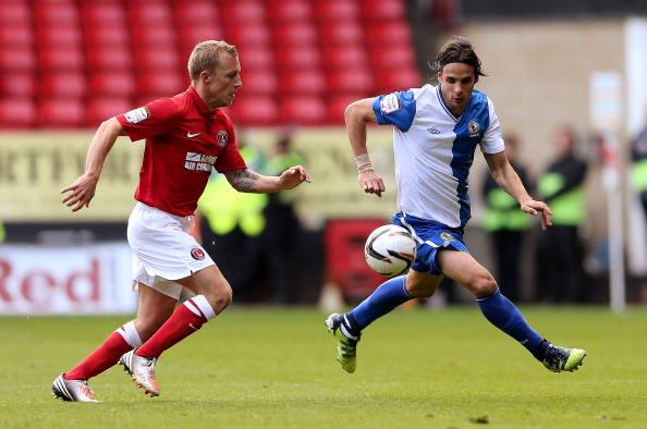 Nuno Gomes of Blackburn (R) in action with Chris Solly of Charlton during the npower Championship match between Charlton Athletic and Blackburn Rovers at The Valley on September 29, 2012 in London, England.  (Photo by Scott Heavey/Getty Images)