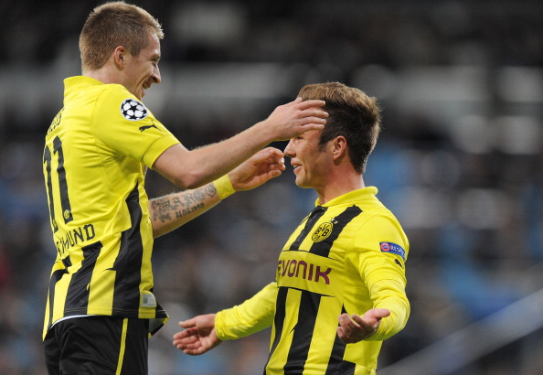 Mario Gotze (R) of of Borussia Dortmund celebrates with Marco Reus have a telepathic relationship. (GEtty Images)