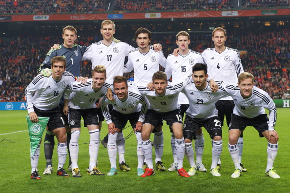 backrow (L-R)) goalkeeper Manuel Neuer of Germany, Per Mertesacker of Germany, Mats Hummels of Germany, Lars Bender of Germany, Benedikt Howedes of Germany(frontrow (L-R) Philipp Lahm of Germany, Marco Reus of Germany, Mario Gotze of Germany, Thomas Muller of Germany, Ilkay Gundogan of Germany, Lewis Holtby of Germany during the Friendly match between Holland and Germany at the Amsterdam Arena on November 14, 2012 in Amsterdam, The Netherlands.(Photo by VI Images via Getty Images)