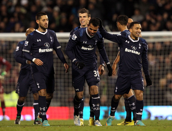 LONDON, ENGLAND - DECEMBER 01:  Sandro of Tottenham celebrates his goal with team mates during the Barclays Premier League match between Fulham and Tottenham Hotspur at Craven Cottage on December 1, 2012 in London, England.  (Photo by Jan Kruger/Getty Images)