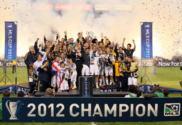 CARSON, CA - DECEMBER 01:  Head coach Bruce Arena and Landon Donovan #10 of Los Angeles Galaxy celebrate the 3-1 victory against the Houston Dynamo to win the 2012 MLS Cup at The Home Depot Center on December 1, 2012 in Carson, California.  (Photo by Victor Decolongon/Getty Images)