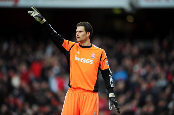 Asmir Begovic of Stoke City in action during the Barclays Premier League match between Arsenal and Stoke City at Emirates Stadium on February 2, 2013 in London, England.  (Photo by Michael Regan/Getty Images)