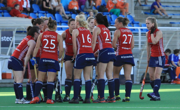 CAPE TOWN, SOUTH AFRICA - FEBRUARY 07:   a general view of England team during the Investec Women's International Hockey Challenge match between England and Australia from Hartleyvale Hockey Stadium on February 07, 2013 in Cape Town, South Africa.  (Photo by Ashley Vlotman/Gallo Images/Getty Images)