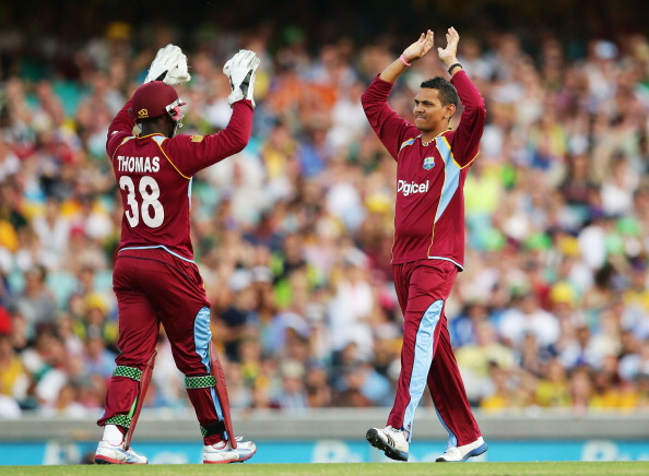 File photo: Sunil Narine (R) of West Indies.