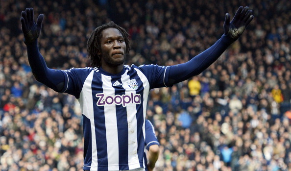 West Bromwich Albion's Belgian striker Romelu Lukaku celebrates scoring the opening goal of the English Premier League football match between West Bromwich Albion and Sunderland at The Hawthorns in West Bromwich, central England, on February 23, 2013. West Brom won the game 2-1. AFP PHOTO/PAUL ELLISRESTRICTED TO EDITORIAL USE. No use with unauthorized audio, video, data, fixture lists, club/league logos or ?live? services. Online in-match use limited to 45 images, no video emulation. No use in betting, games or single club/league/player publications.        (Photo credit should read PAUL ELLIS/AFP/Getty Images)