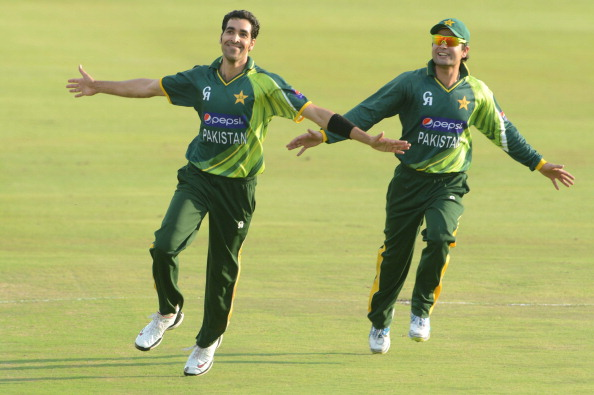 PRETORIA, SOUTH AFRICA - MARCH 03: Umar Gul of Pakistan celebrate the win during the 2nd T20 match between South Africa and Pakistan at SuperSport Park on March 03, 2013 in Pretoria, South Africa.