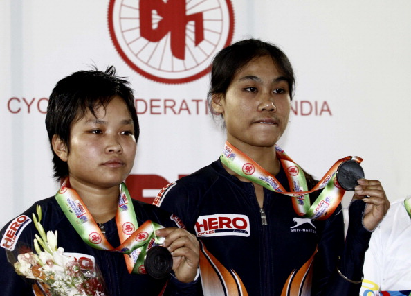 Indian Cyclist Deborah ( R) with T. Manorama (L) wins Bronze Medal in Team Sprint Women Junior finals during the Asian Cyclist Championship