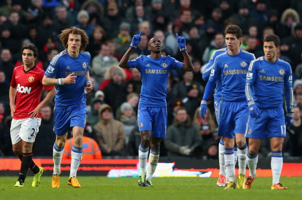 Ramires of Chelsea celebrates scoring his teaam's second goal during the FA Cup sponsored by Budweiser Sixth Round match between Manchester United and Chelsea at Old Trafford on March 10, 2013 in Manchester, England.  (Photo by Alex Livesey/Getty Images)