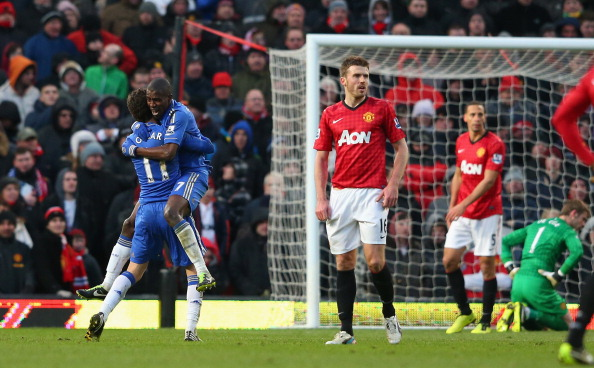 Ramires  of Chelsea celebrates scoring his team's second goal with team-mate Oscar (l) during the FA Cup sponsored by Budweiser Sixth Round match between Manchester United and Chelsea at Old Trafford on March 10, 2013 in Manchester, England.