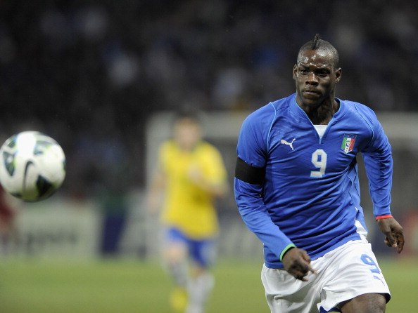 Mario Balotelli of Italy in action during the international friendly match between Italy and Brazil on March 21, 2013 in Geneva, Switzerland.  (Photo by Claudio Villa/Getty Images)