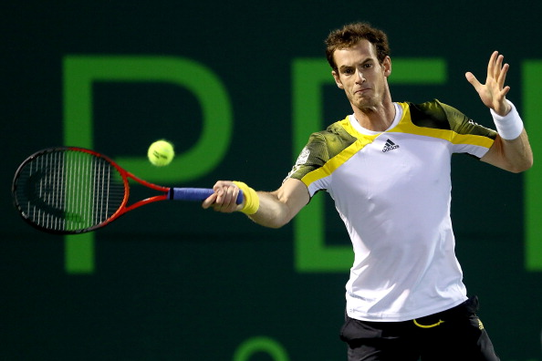 NE, FL - MARCH 29:  Andy Murray of Great Britain returns a shot to Richard Gasquet of France during the semifinals of the Sony Open at Crandon Park Tennis Center on March 29, 2013 in Key Biscayne, Florida.  (Photo by Matthew Stockman/Getty Images)