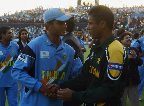 Captain of India Sourav Ganguly shakes hands with Pakistan captain Waqar Younis