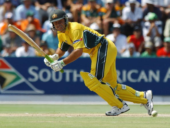 Australian Batsman Ricky Ponting nudges  four more runs, during his unbeaten 140,