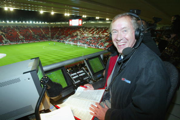 Sky television commentator Martin Tyler in the commentary boxbefore the Euro 2004 Championship Qualifying match between England and Macedonia on October 16, 2002 at St. Mary's Stadium in Southampton, England. (Photo by Mike Hewitt/Getty Images)
