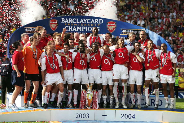 "Arsenal's ""Invincibles"" of 2003-2004: Arsenal have been renowned for using foreign players in their highly successful system. In this championship winning season, Arsenal's only English midfielder was Ray Parlour, who played largely in a backup role to captain Patrick Vieira. (Getty Images)"