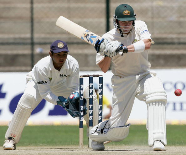 BANGALORE, INDIA - OCTOBER 7:  Michael Clarke of Australia in action during day two of the First Test between India and Australia played at the Chinnaswamy Stadium on October 7, 2004 in Bangalore, India. He scored 151.
