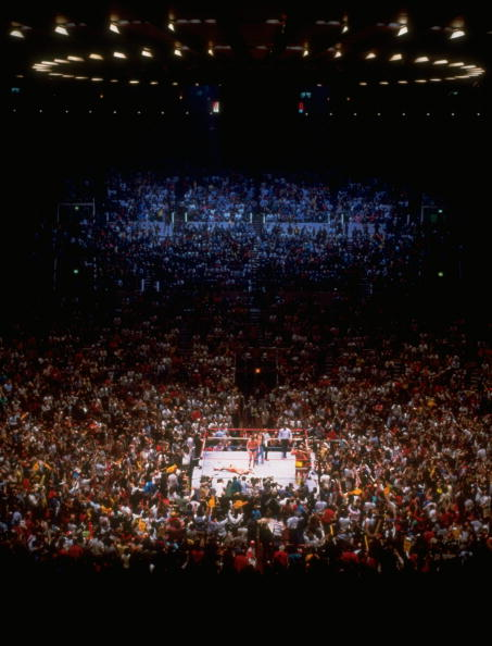 "Crowd watching ""wrestle mania"" at Madison Square Garden"