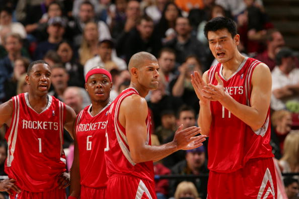 SACRAMENTO, CA - DECEMBER 1: Tracy McGrady #1, Bonzi Wells #6, Shane Battier #31 and Yao Ming #11 of the against the Sacramento Kings on December 1, 2007 at ARCO Arena in Sacramento, California. NOTE TO USER: User expressly acknowledges and agrees that, by downloading and/or using this Photograph, user is consenting to the terms and conditions of the Getty Images License Agreement. Mandatory Copyright Notice: Copyright 2007 NBAE (Photo by Rocky Widner/NBAE via Getty Images)