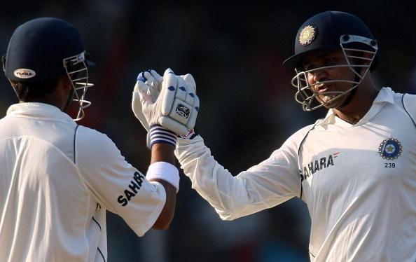 Indian cricketer Gautam Gambhir (L) punc