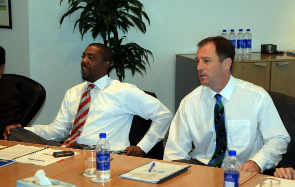 - FEBRUARY 10: Whycliffe Dave Cameron of the West Indies Cricket Board (left) with Neil Speight of the Bermuda Cricket Association during the ICC board meeting on February 10, 2010 in Dubai, United Arab Emirates.  (Photo by Getty Images For ICC)