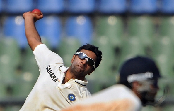 Indian bowler Ravichandran Ashwin bowls