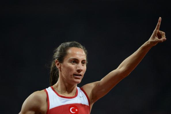 Turkey's Asli Cakir Alptekin celebrates