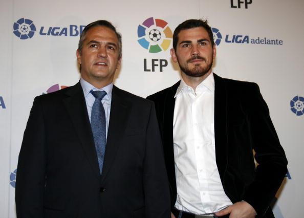 Jose Luis Astiazaran (L) and Iker Casillas (R) Attend the Spanish Football League Gala.
