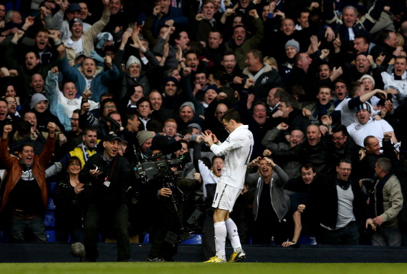 LONDON, ENGLAND - MARCH 03:  Gareth Bale of Spurs celebrates after scoring the opening goal during the Barclays Premier League match between Tottenham Hotspur and Arsenal FC at White Hart Lane